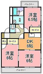茨城県水戸市けやき台2丁目の賃貸マンションの間取り