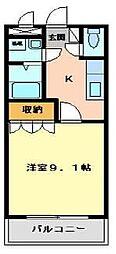 福岡県北九州市小倉南区富士見2丁目の賃貸アパートの間取り