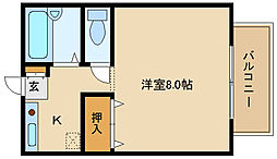 大阪府羽曳野市野々上5丁目の賃貸アパートの間取り