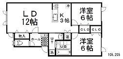 Urban Port SHIROYAMA 1階2LDKの間取り