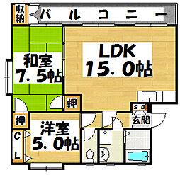 福岡県大野城市大字瓦田の賃貸マンションの間取り