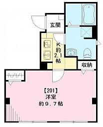 都営浅草線 宝町駅 徒歩8分の賃貸マンション 2階1Kの間取り