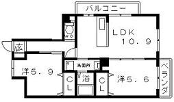 大阪府大阪市住吉区長居1丁目の賃貸マンションの間取り