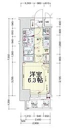 プレサンスOSAKA DOMECITY ワンダー 7階1Kの間取り