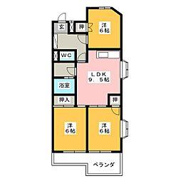 プレアール名古屋供米田[3階]の間取り