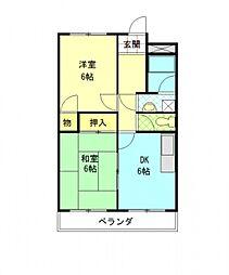 愛知県一宮市開明字北釈迦堂の賃貸マンションの間取り