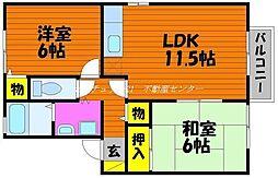 岡山県岡山市中区今谷の賃貸アパートの間取り