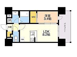 ネストピア東比恵駅前2 3階1LDKの間取り