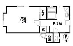 石川県金沢市上荒屋5丁目の賃貸アパートの間取り