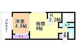 癒禅(ユウゼン)32 5階1LDKの間取り