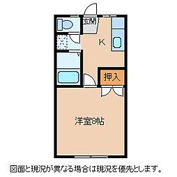 長野県諏訪郡富士見町落合の賃貸アパートの間取り