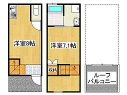 兵庫県神戸市垂水区高丸1丁目の賃貸アパートの間取り