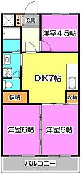 埼玉県朝霞市宮戸3丁目の賃貸マンションの間取り