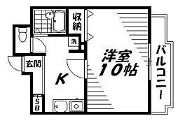 京阪本線 西三荘駅 徒歩1分の賃貸マンション 4階1Kの間取り