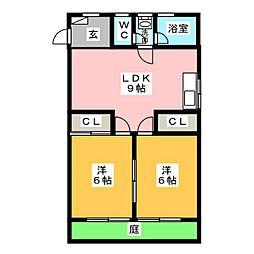 興羽コーポ[1階]の間取り