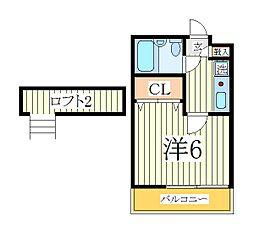 千葉県柏市あけぼの5丁目の賃貸アパートの間取り