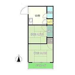 コーポ諏訪[2階南号室]の間取り