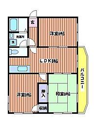東京都武蔵村山市大南3丁目の賃貸マンションの間取り