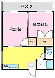 さくら荘[201号室]の間取り