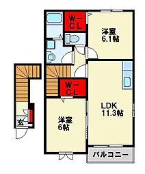 サンハイムII[2階]の間取り