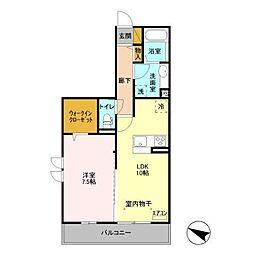 (仮)D-room飯山満町 A[205号室]の間取り