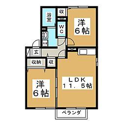 宮城県仙台市泉区南中山2丁目の賃貸アパートの間取り