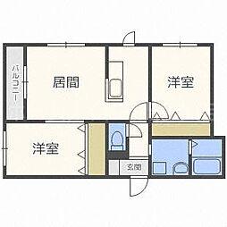 北海道札幌市白石区菊水六条2丁目の賃貸マンションの間取り