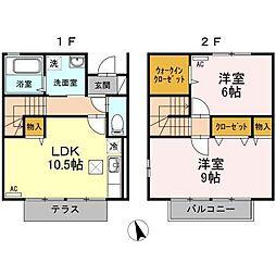富山県富山市布瀬町2丁目の賃貸アパートの間取り