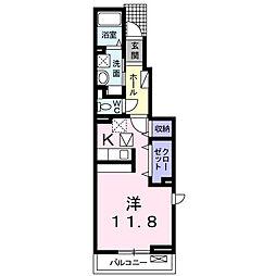カーサ フェリオ 1階1Kの間取り