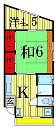大栄コーポ第二[201号室]の間取り