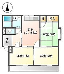愛知県長久手市武蔵塚の賃貸アパートの間取り