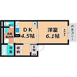 大阪府大阪市鶴見区今津中3丁目の賃貸アパートの間取り