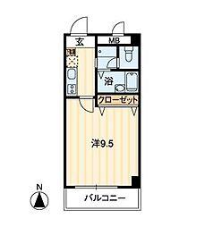 エポカ大川筋 2階1Kの間取り