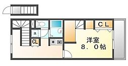 JR山陽本線 備後赤坂駅 徒歩33分の賃貸アパート 2階1Kの間取り