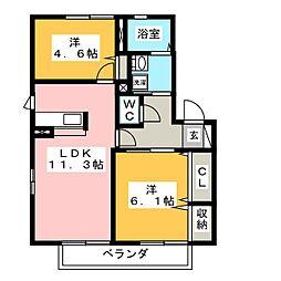 ラカーサフェリス B棟[1階]の間取り