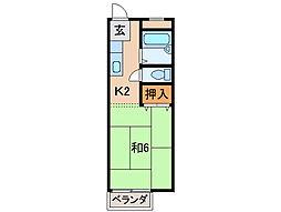ハイツ矢田[1階]の間取り