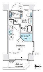 リビオメゾン両国イースト 9階ワンルームの間取り