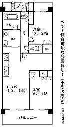 滋賀県大津市におの浜2丁目の賃貸マンションの間取り