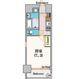 ポルトボヌール南堀江[201号室]の間取り