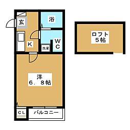 ピュア箱崎 拾壱番館[2階]の間取り