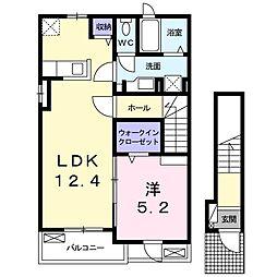 大阪府大東市深野3丁目の賃貸アパートの間取り
