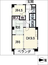 アサヒビル(住居)[3階]の間取り