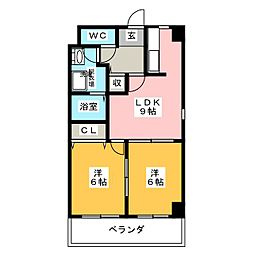 サンコート新西[1階]の間取り