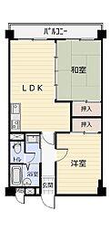 福岡県北九州市若松区白山2丁目の賃貸マンションの間取り