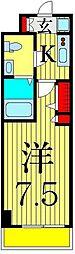 京成本線 お花茶屋駅 徒歩9分の賃貸マンション 6階1Kの間取り