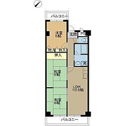 メルベーユ杉(3LDK)[6階]の間取り
