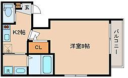 兵庫県神戸市中央区再度筋町6の賃貸アパートの間取り