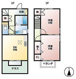 プラッサムコート熊野町A[1階]の間取り