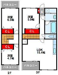 JR鹿児島本線 福工大前駅 徒歩16分の賃貸マンション 3階3LDKの間取り