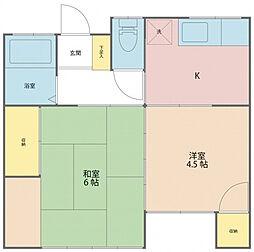神奈川県厚木市三田南3丁目の賃貸アパートの間取り